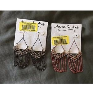NWT 2 Pairs Of Anna & Ava Black And Red Earrings